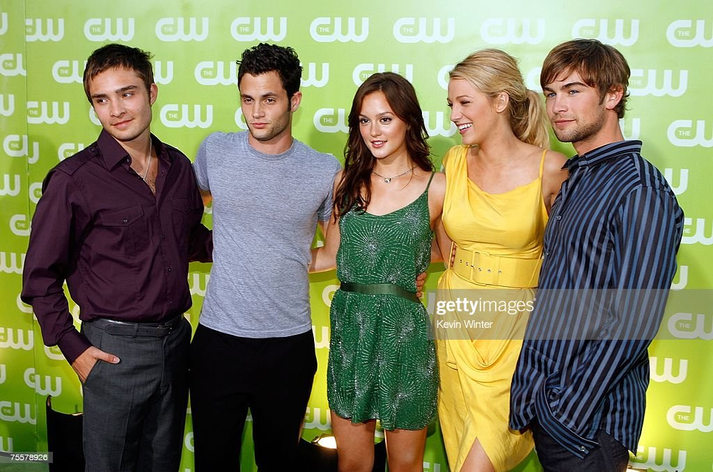 Actors Ed Westwick, Penn Badgley, <a gi-track='captionPersonalityLinkClicked' href=/galleries/search?phrase=Blake+Lively&family=editorial&specificpeople=221673 ng-click='$event.stopPropagation()'>Blake Lively</a>, Leighton Meester, and Chase Crawford arrive to the CW Television Critics Association Press Tour party at the Fountain Plaza at the Pacific Design Center on July 20, 2007 in West Hollywood, California.