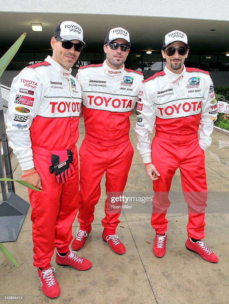 Actors Eddie Cibrian, Brody Jenner and Adrien Brody pose during the 36th Annual Toyota Pro/Celebrity Race - Press Practice Day of the Toyota Grand Prix of Long Beach on April 13, 2012 in Long Beach, California.