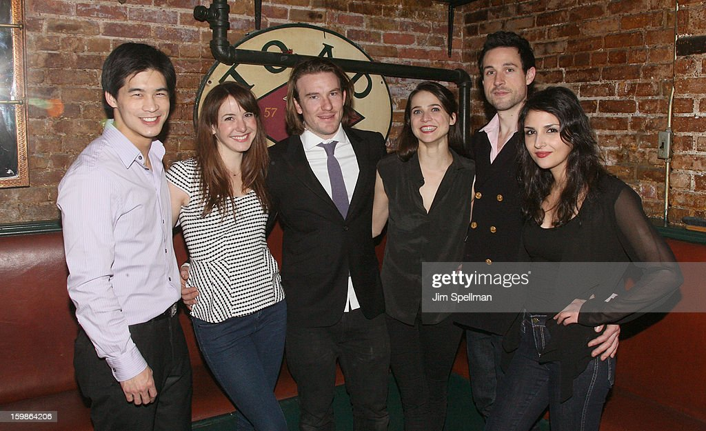 Actors Eddie Liu, Katie Blake, actor/writer Michael Rabe, actors Maya Kazan, Rhett Owen and Maryam Hassouni attend the after party for the opening night of 'The Future Is Not What It Was' at Toad Hall on January 21, 2013 in New York City.