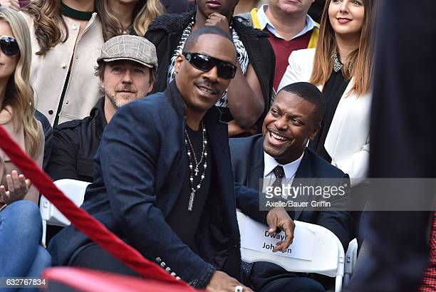 Actors Eddie Murphy and Chris Tucker attend the ceremony honoring Brett Ratner with a Star on the Hollywood Walk of Fame on January 19 2017 in...