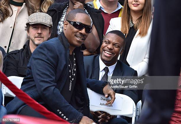 Actors Eddie Murphy Chris Tucker and Edward Norton attend the ceremony honoring Brett Ratner with a Star on the Hollywood Walk of Fame on January 19...