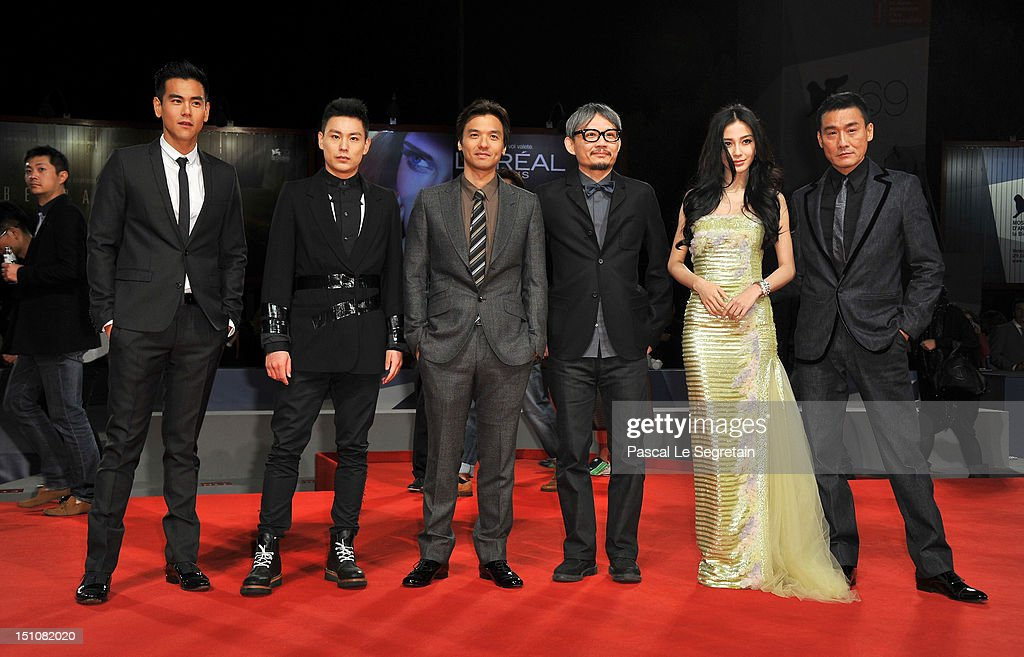Actors Eddie Peng, Yuan Xiaochao, director Stephen Fung, producer Kuo-Fu-Chen, actress Angelababy and actor Tony Leung Ka Fai attend the 'Tai Chi O' premiere during the 69th Venice Film Festival at the Palazzo del Cinema on August 31, 2012 in Venice, Italy.