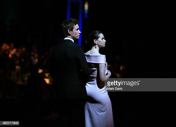 Actors Eddie Redmayne and Felicity Jones onstage at TNT's 21st Annual Screen Actors Guild Awards at The Shrine Auditorium on January 25 2015 in Los...