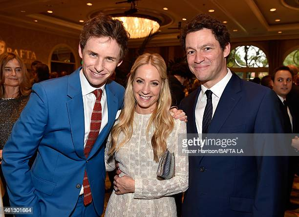 Actors Eddie Redmayne Joanne Froggatt and Dominic West attend the BAFTA Los Angeles Tea Party at The Four Seasons Hotel Los Angeles At Beverly Hills...