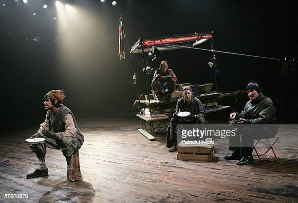 Actors Eden Falk Hayley McElhinney Pamela Rabe and John Gaden perform during a media call for 'Mother Courage And Her Children' at the Sydney Theatre...
