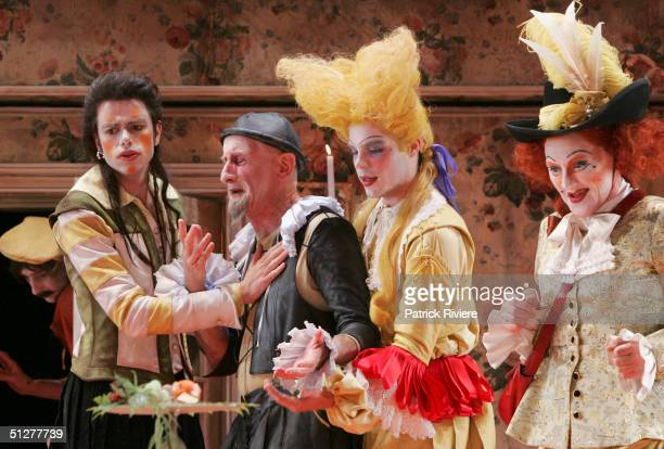 Actors Eden Falk John Gaden Brett Stiller and Julie Forsyth perform at a photocall for Moliere's 'The Miser' at the Drama Theatre September 1 2004 in...