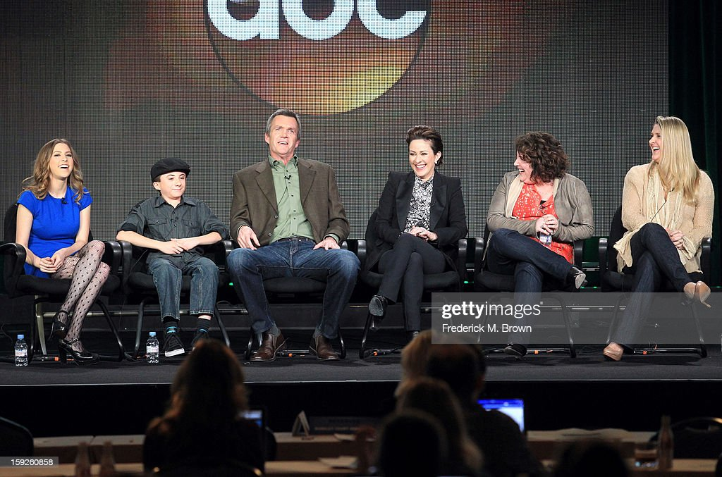 Actors Eden Sher, Atticus Shaffer, <a gi-track='captionPersonalityLinkClicked' href=/galleries/search?phrase=Neil+Flynn&family=editorial&specificpeople=556309 ng-click='$event.stopPropagation()'>Neil Flynn</a> and <a gi-track='captionPersonalityLinkClicked' href=/galleries/search?phrase=Patricia+Heaton&family=editorial&specificpeople=173459 ng-click='$event.stopPropagation()'>Patricia Heaton</a> and Executive Producers Eileen Heisler and DeAnn Heline of 'the middle' speak onstage during the ABC portion of the 2013 Winter TCA Tour at Langham Hotel on January 10, 2013 in Pasadena, California.