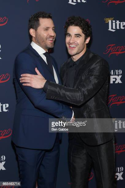 Actors Edgar Ramirez and Darren Criss attend FX Network 2017 AllStar Upfront at SVA Theater on April 6 2017 in New York City