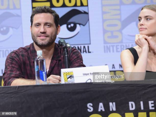 Actors Edgar Ramirez and Lucy Fry speak onstage at Netflix Films 'Bright' and 'Death Note' panel during ComicCon International 2017 at San Diego...