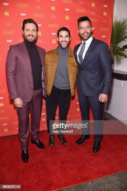 Actors Edgar Ramirez Darren Criss and Ricky Martin attend 'The Assassination Of Gianni Versace American Crime Story' New York screening at Metrograph...