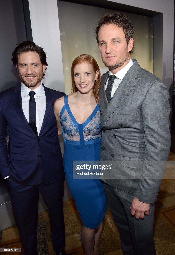 Actors Edgar Ramirez, <a gi-track='captionPersonalityLinkClicked' href=/galleries/search?phrase=Jessica+Chastain&family=editorial&specificpeople=653192 ng-click='$event.stopPropagation()'>Jessica Chastain</a> and <a gi-track='captionPersonalityLinkClicked' href=/galleries/search?phrase=Jason+Clarke+-+Actor&family=editorial&specificpeople=549663 ng-click='$event.stopPropagation()'>Jason Clarke</a> arrive at the Los Angeles premiere of Columbia Pictures' 'Zero Dark Thirty' at Dolby Theatre on December 10, 2012 in Hollywood, California.