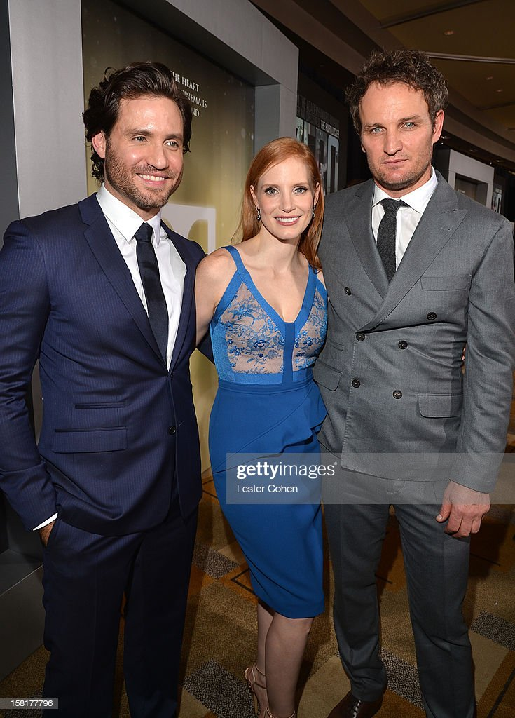 Actors Edgar Ramirez, <a gi-track='captionPersonalityLinkClicked' href=/galleries/search?phrase=Jessica+Chastain&family=editorial&specificpeople=653192 ng-click='$event.stopPropagation()'>Jessica Chastain</a>, and <a gi-track='captionPersonalityLinkClicked' href=/galleries/search?phrase=Jason+Clarke+-+Actor&family=editorial&specificpeople=549663 ng-click='$event.stopPropagation()'>Jason Clarke</a> attend the 'Zero Dark Thirty' Los Angeles Premiere at Dolby Theatre on December 10, 2012 in Hollywood, California.