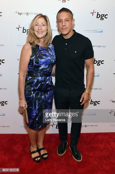 Actors Edie Falco and Theo Rossi attend Annual Charity Day hosted by Cantor Fitzgerald BGC and GFI at BGC Partners INC on September 12 2016 in New...