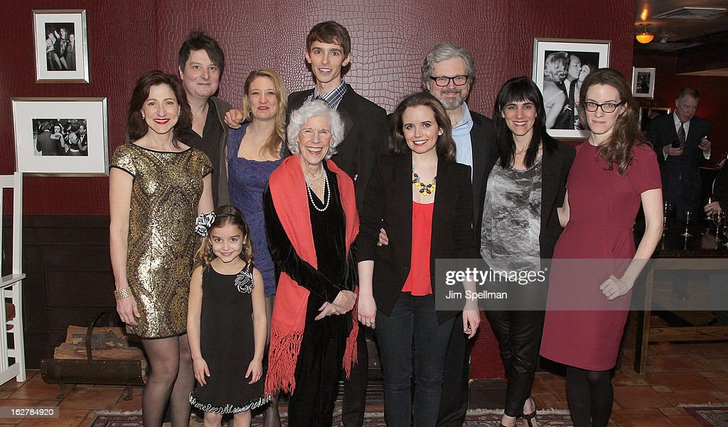 Actors Edie Falco, Christopher Evan Welch, Brooke Ashley, Heidi Schreck, Frances Sternhagen, Seth Clayton, Phoebe Strole, John Ellison, director Leigh Silverman and playwright Liz Flahive attend 'The Madrid' Opening Night at Red Eye Grill on February 26, 2013 in New York City.