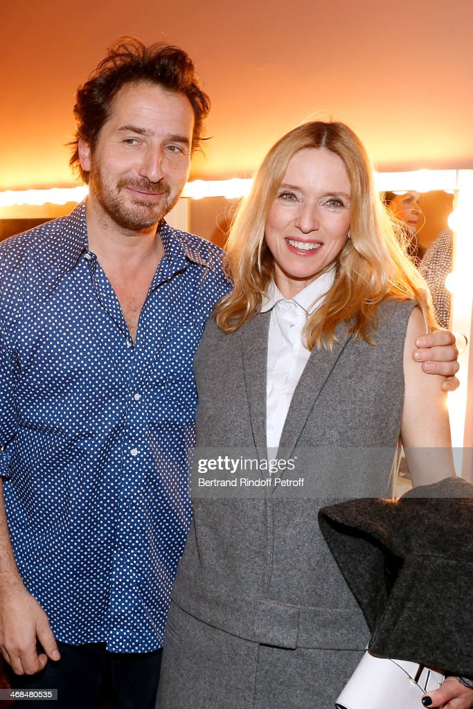 Actors Edouard Baer and Lea Drucker attend 'La Porte a Cote' Theater Play premiere Held at Theatre Edouard VII on February 10 2014 in Paris France