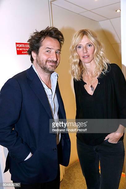Actors Edouard Baer and Sandrine Kiberlain present the movie 'Encore Heureux' during the 'Vivement Dimanche' French TV Show at Pavillon Gabriel on...