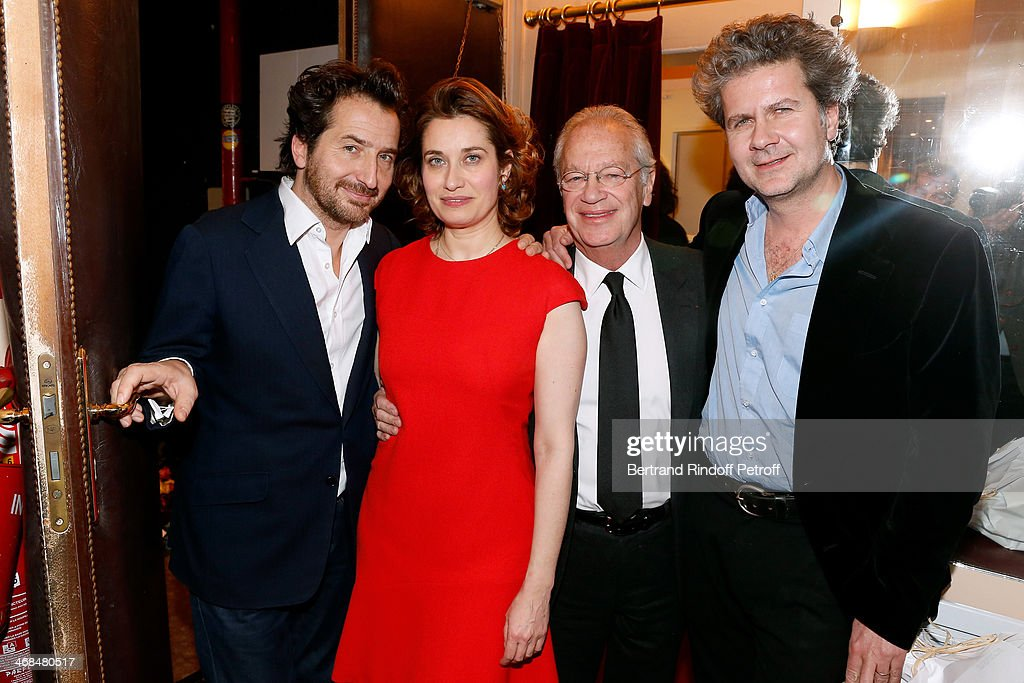 Actors <a gi-track='captionPersonalityLinkClicked' href=/galleries/search?phrase=Edouard+Baer&family=editorial&specificpeople=2455096 ng-click='$event.stopPropagation()'>Edouard Baer</a>, <a gi-track='captionPersonalityLinkClicked' href=/galleries/search?phrase=Emmanuelle+Devos&family=editorial&specificpeople=220367 ng-click='$event.stopPropagation()'>Emmanuelle Devos</a> (dressed in Dior), stage director of the piece Bernard Murat and autor of the piece Fabrice Roger-Lacan attend 'La Porte a Cote' : Theater Play premiere. Held at Theatre Edouard VII on February 10, 2014 in Paris, France.