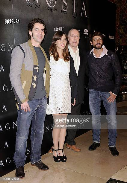 Actors Eduardo Noriega Barbara Goenaga Jack Taylor and Felix Gomez attend 'Agnosia' photocall at the Palafox cinema on November 4 2010 in Madrid Spain