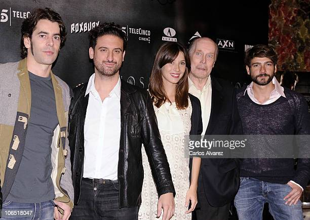 Actors Eduardo Noriega director Eugenio Mira Barbara Goenaga Jack Taylor and Felix Gomez attend 'Agnosia' photocall at the Palafox cinema on November...