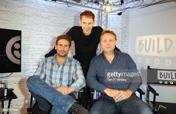 Actors Edward Holcroft Robert Emms and Shaun Dooley from BBC Drama 'Gunpowder' pose for a photo during a panel discussion at BUILD London on October...