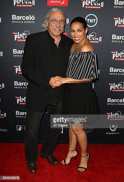 Actors Edward James Olmos and Celines Toribio attend the nomination announcement for The 3rd Annual Premios Platino of Iberoamerican Cinema at The...