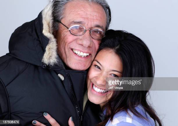Actors Edward James Olmos and Gina Rodriguez pose for a portrait during the 2012 Sundance Film Festival at the WireImage Portrait Studio at TMobile...