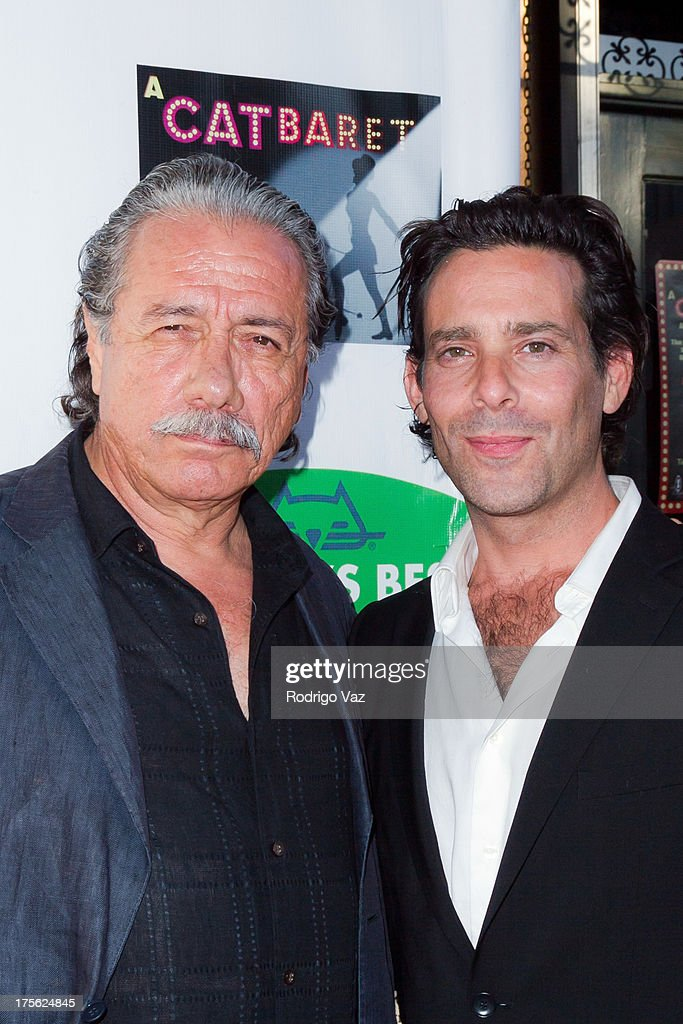 Actors <a gi-track='captionPersonalityLinkClicked' href=/galleries/search?phrase=Edward+James+Olmos&family=editorial&specificpeople=213817 ng-click='$event.stopPropagation()'>Edward James Olmos</a> (L) and <a gi-track='captionPersonalityLinkClicked' href=/galleries/search?phrase=James+Callis&family=editorial&specificpeople=851182 ng-click='$event.stopPropagation()'>James Callis</a> arrive at 'CATberet' - A Musical Review for local cat and kitten rescue center Kitty Bungalow Charm School For Wayward Cats at Belasco Theatre on August 4, 2013 in Los Angeles, California.