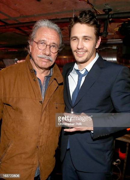 Actors Edward James Olmos and James Franco attend the 'Spring Breakers' premiere after party at The Emerson Theatre on March 14 2013 in Hollywood...