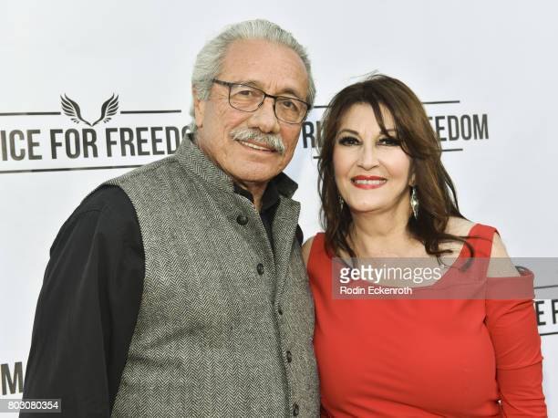 Actors Edward James Olmos and Mary Apick attend screening of 'Price For Freedom' at Laemmle Music Hall on June 28 2017 in Beverly Hills California