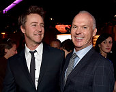 Actors Edward Norton and Michael Keaton attend the 87th Annual Academy Awards Nominee Luncheon at The Beverly Hilton Hotel on February 2 2015 in...