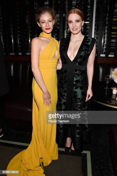Actors Efrat Dor and Jessica Chastan attend the Premiere Of Focus Features' 'The Zookeeper's Wife' after party at the Paley Restaurnat on March 27...