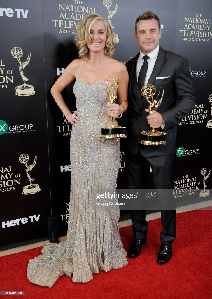 Actors Eileen Davidson and Billy Miller pose in the press room at the 41st Annual Daytime Emmy Awards at The Beverly Hilton Hotel on June 22 2014 in...
