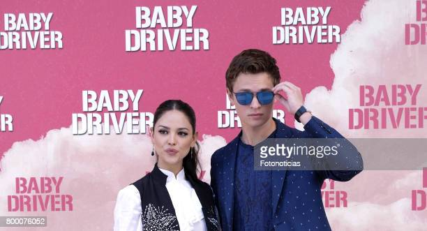 Actors Eiza Gonzalez and Ansel Elgort attend a photocall for 'Baby Driver' at the Villa Magna Hotel on June 23 2017 in Madrid Spain