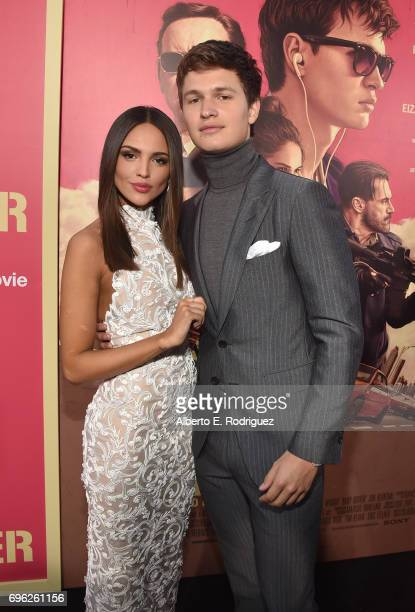 Actors Eiza Gonzalez and Ansel Elgort attend the premiere of Sony Pictures' 'Baby Driver' at Ace Hotel on June 14 2017 in Los Angeles California