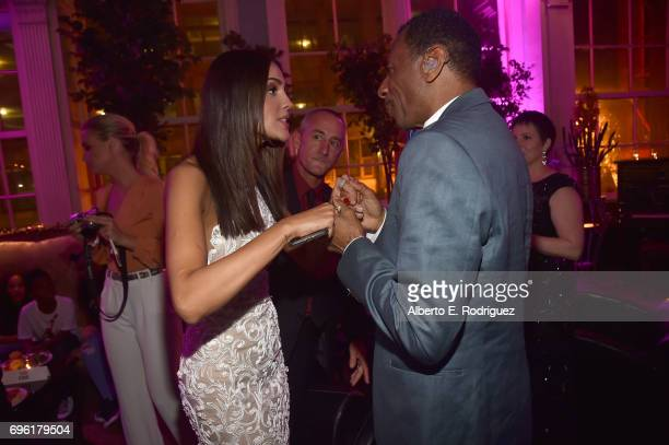 Actors Eiza Gonzalez and CJ Jones attend the after party for the premiere of Sony Pictures' 'Baby Driver' on June 14 2017 in Los Angeles California