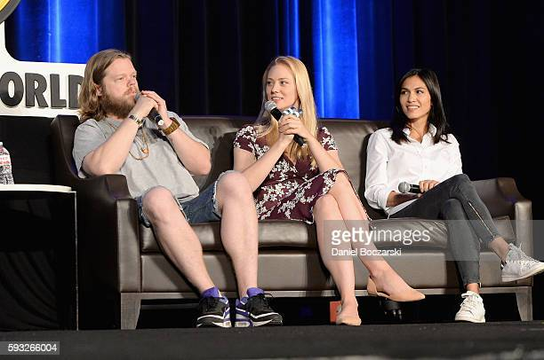 Actors Elden Henson Deborah Ann Woll and Elodie Yung speak onstage during Wizard World Comic Con Chicago 2016 Day 4 at Donald E Stephens Convention...