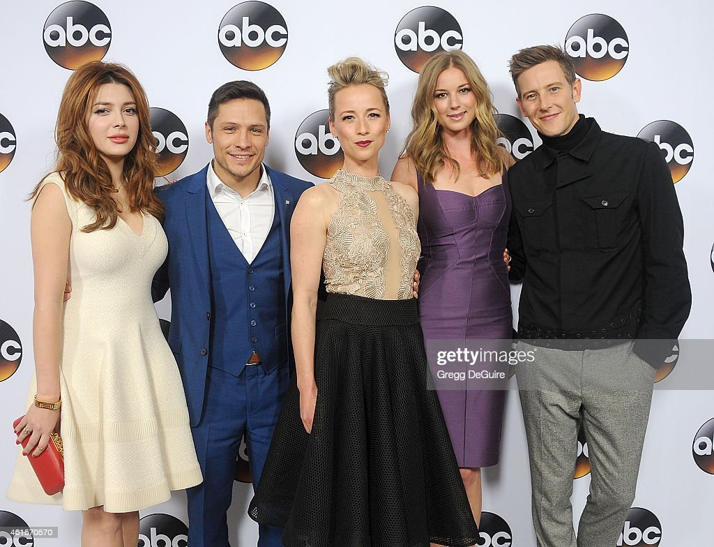 Actors Elena Satine Nick Wechsler Karine Vanasse Emily VanCamp and Gabriel Mann of 'Revenge' arrive at Disney ABC Television Group's TCA Winter Press...