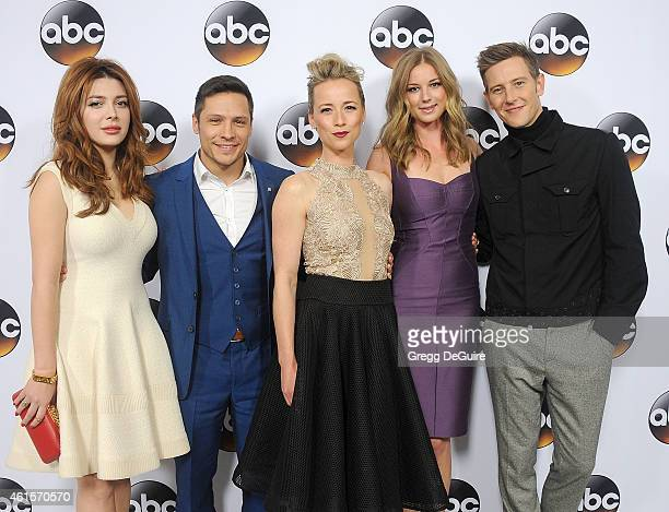 Actors Elena Satine Nick Wechsler Karine Vanasse Emily VanCamp and Gabriel Mann of 'Revenge' arrive at Disney ABC Television Group's TCA Winter Press...