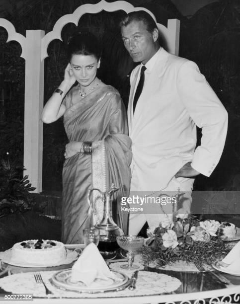 Actors Eleonora Rossi Drago and Lex Barker on the set of the movie 'Tempesta su Ceylon' Cinecitta Italy December 31st 1962