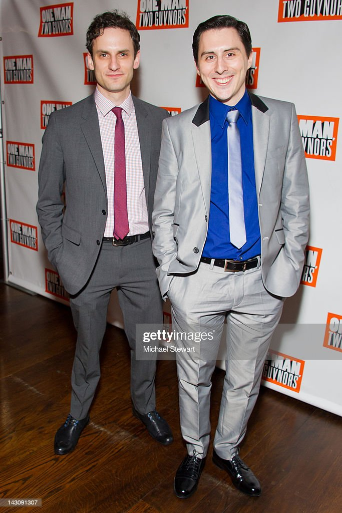 Actors Eli James (L) and Stephen Pilkington attend the 'One Man, Two Guvnors' opening night party at The Liberty Theatre on April 18, 2012 in New York City.