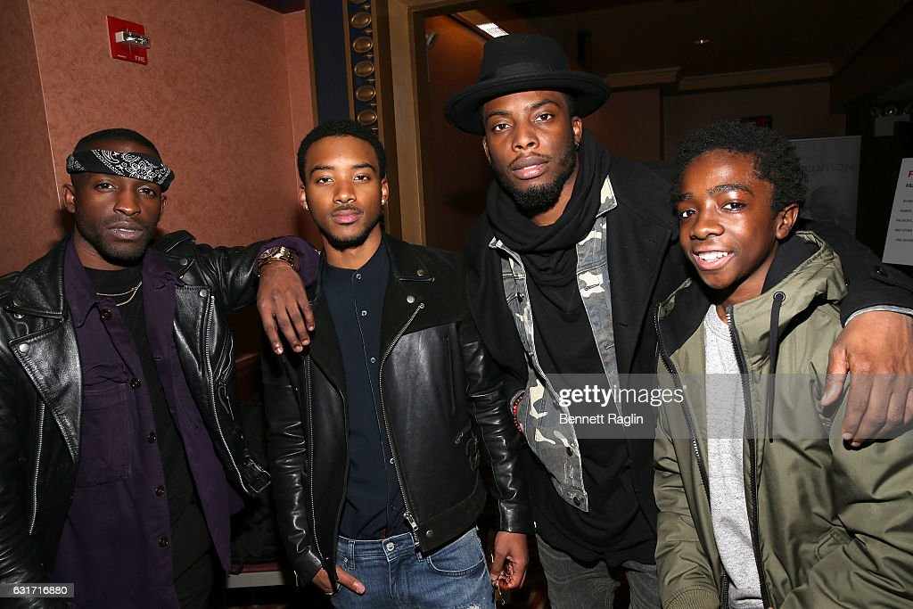 Actors ( L- R) Elijah Kelley, Algee Smith, Woody McClain, and Caleb McLaughlin attend the New Edition Story BET AMC Screenings Tour, New York on January 14, 2017 in New York City.