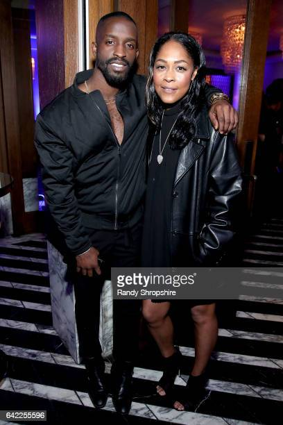 Actors Elijah Kelly and Monica Calhoun attend Pre ABFF Honors Cocktail Party hosted by Debra L Lee Jeff Friday at Cecconi's on February 16 2017 in...