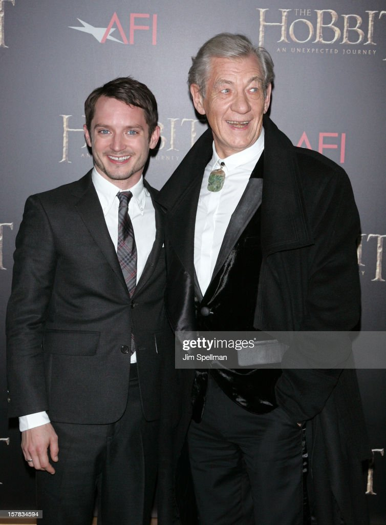 Actors <a gi-track='captionPersonalityLinkClicked' href=/galleries/search?phrase=Elijah+Wood&family=editorial&specificpeople=171364 ng-click='$event.stopPropagation()'>Elijah Wood</a> and <a gi-track='captionPersonalityLinkClicked' href=/galleries/search?phrase=Ian+McKellen&family=editorial&specificpeople=202983 ng-click='$event.stopPropagation()'>Ian McKellen</a> attend 'The Hobbit: An Unexpected Journey' premiere at the Ziegfeld Theater on December 6, 2012 in New York City.