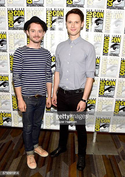 Actors Elijah Wood and Samuel Barnett attend the 'Dirk Gently' press line during ComicCon International on July 23 2016 in San Diego California