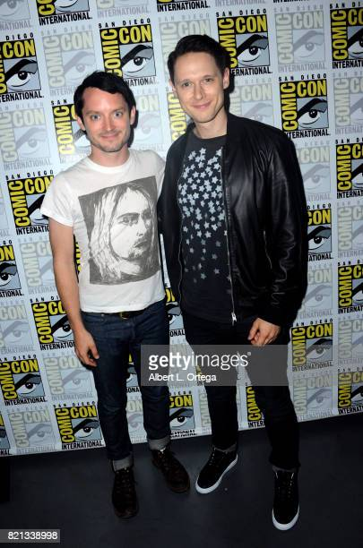 Actors Elijah Wood and Samuel Barnett pose at Dirk Gently's Holistic Detective Agency BBC America Official Panel during ComicCon International 2017...