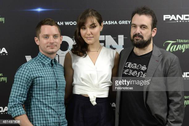 Actors Elijah Wood and Sasha Grey and director Nacho Vigalondo attend the 'Open Windows' photocall at User on June 30 2014 in Madrid Spain