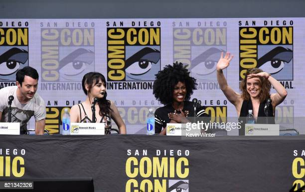 LR0 Actors Elijah Wood Hannah Marks Jade Eshete and Fiona Dourif at Dirk Gently's Holistic Detective Agency BBC America Official Panel during...