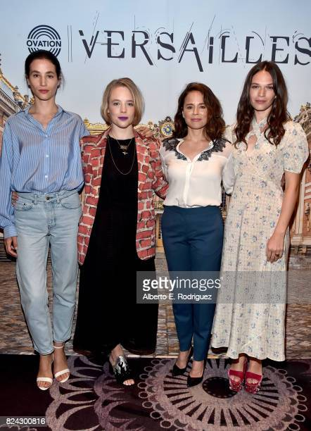 Actors Elisa Lasowski Jessica Clark Suzanne Clement and Anna Brewster of 'Versailles' at the Ovation Summer TCA Press Tour at The Beverly Hilton...