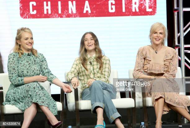 Actors Elisabeth Moss Alice Englert and Nicole Kidman of 'Top of the Lake China Girl'' speak onstage during the Sundance TV portion of the 2017...