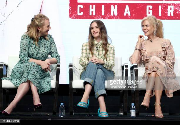 Actors Elisabeth Moss Alice Englert and Nicole Kidman of 'Top of the Lake China Girl' speak onstage during the SundanceTV portion of the 2017 Summer...